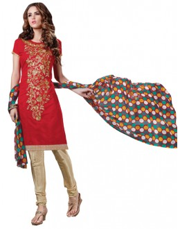 Casual Wear  Red Chanderi Cotton Un-Stitched Churidar Suit - 5610