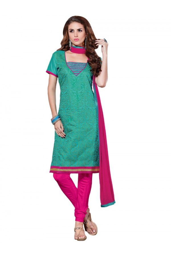 Casual Wear  Green Chanderi Cotton Un-Stitched Churidar Suit - 5611
