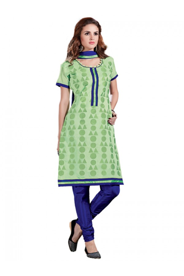 Casual Wear  Light Green Chanderi Cotton Un-Stitched Churidar Suit - 5615