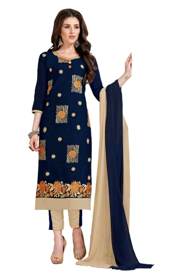 Office Wear Blue & Beige Churidar Suit  - Aashiqui gold 61013