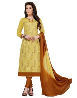 Casual Wear Yellow & Brown Churidar Suit  - Aashiqui gold 61015