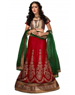 Ethnic Wear Net Red Lehenga Choli - ALISHA 35102