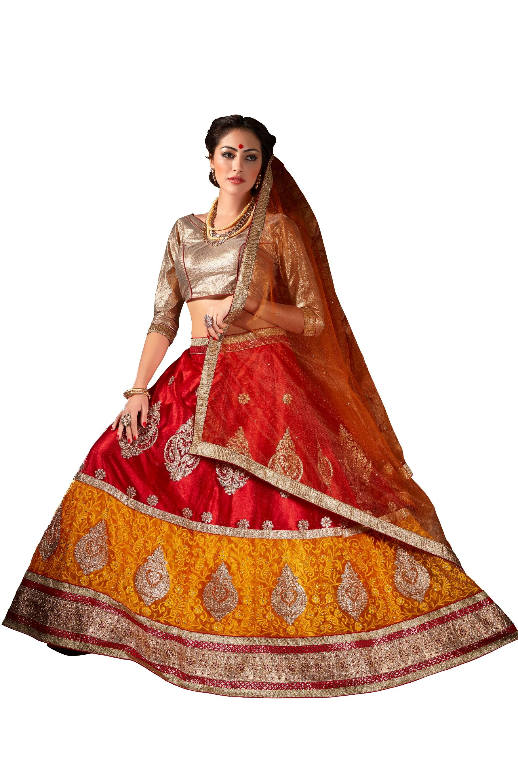 Ethnic Wear Net Red Lehenga Choli - ALISHA 35116