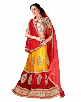 Ethnic Wear Net Yellow Lehenga Choli - ALISHA 35109