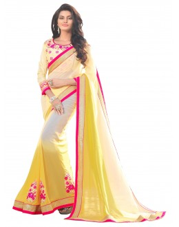 Georgette Yellow & Cream Saree - AMREEN4603