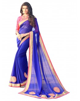 Party Wear Georgette Blue Saree - AMREEN4612