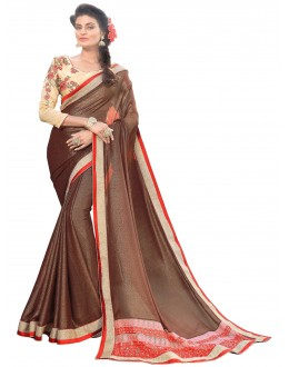 Party Wear Georgette Net Brown Saree - AMREEN4604