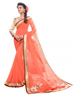 Party Wear Georgette Peach Saree - AMREEN4601