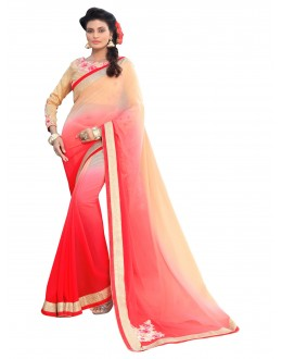 Party Wear Georgette Red & Chiku Saree - AMREEN4611