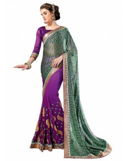 Designer Multicolor Embroidered Georgette Saree - 3011 ( ST-BRASSO QUEEN )