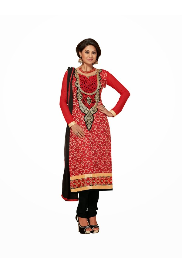 Designer Red & Black Unstitched Straight Fit Suit -1002(ST-Cappuccino)