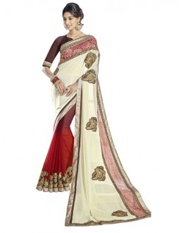 Designer Red & White Sequence With Cut Work Border Saree - 3601 ( ST-DOUBLE BLAST )