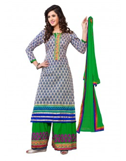 Designer Blue Double Bottom Unstitched Salwar Kameez-7502(ST-DUAL SIM)