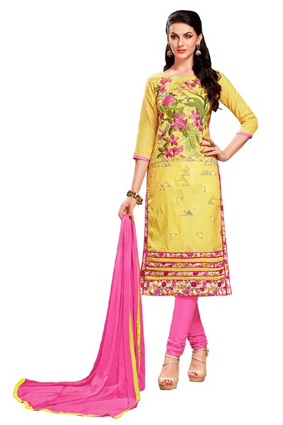 Office Wear Yellow & Pink Cotton Churidar Suit  - EXOTIC1404