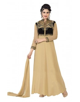 Diwali Special Beige Soft Net Embroidered Gown-1107(ST-FASHION GOWN)