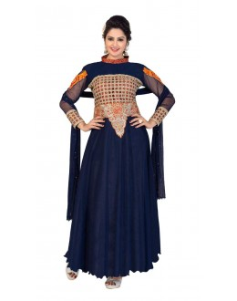 Diwali Special Blue Soft Net Embroidered Gown-1105(ST-FASHION GOWN)