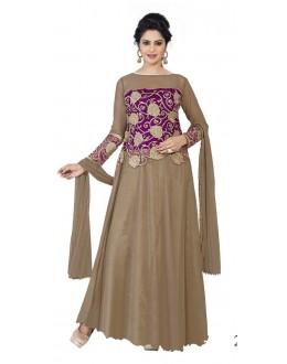 Diwali Special Brown Soft Net Embroidered Gown-1104(ST-FASHION GOWN)
