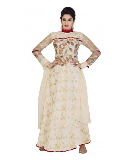 Diwali Special White Soft Net Embroidered Gown-1106(ST-FASHION GOWN)