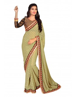 Diwali Special Light Green Multi Embroidered Border Georgette Jacquard Saree-1510(ST-FASHIONISTIC)
