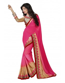 Diwali Special Pink Multi Embroidered Border Georgette Jacquard Saree-1509(ST-FASHIONISTIC)