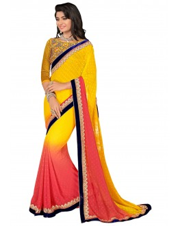 Diwali Special Yellow Multi Embroidered Border Georgette Saree-1504(ST-FASHIONISTIC)