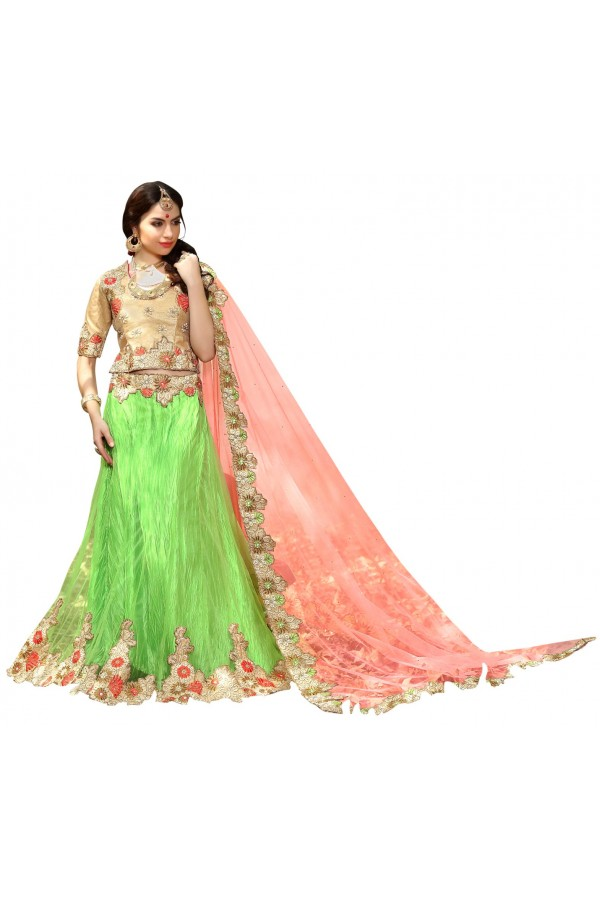 Ethnic Wear Net Light Green Lehenga Choli - GOLDEN LEAF5312