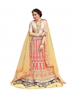 Ethnic Wear Net Pink Lehenga Choli - GOLDEN LEAF5301