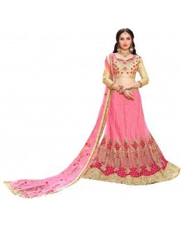 Ethnic Wear Net Pink Lehenga Choli - GOLDEN LEAF5305