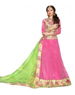 Ethnic Wear Net Pink Lehenga Choli - GOLDEN LEAF5307