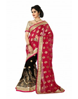 Designer Party Wear Black & Red Saree-JN02(ST-JEENAT)