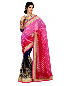 Designer Party Wear Blue & Pink Saree-JN12(ST-JEENAT)