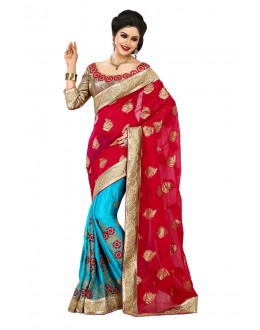 Designer Party Wear Blue & Red Saree-JN01(ST-JEENAT)
