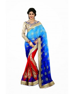 Designer Party Wear Blue & Red Saree-JN09(ST-JEENAT)