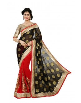 Designer Party Wear Red & Black Saree-JN05(ST-JEENAT)