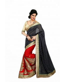 Designer Party Wear Red & Black Saree-JN11(ST-JEENAT)