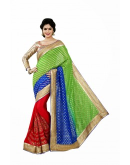 Designer Party Wear Red,Blue,Green Saree-JN10(ST-JEENAT)