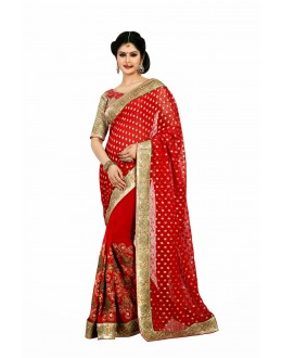 Designer Party Wear Red Saree-JN14(ST-JEENAT)