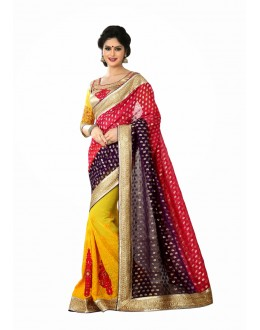 Designer Party Wear Yellow,Blue,Red Saree-JN06(ST-JEENAT)