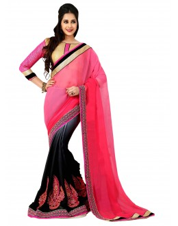 Designer Party Wear Pink & Black Saree-H04(ST-JHALAK)