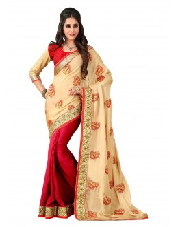 Designer Party Wear Red & Beige Saree-H08(ST-JHALAK)