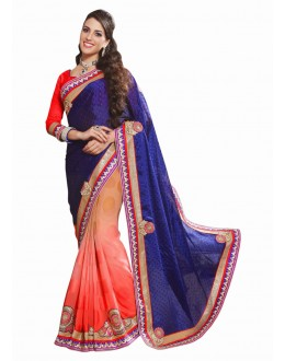 Designer Party Wear Red & Blue Saree-17004(ST-LAZZA)