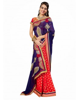 Designer Party Wear Red & Blue Saree-17010(ST-LAZZA)