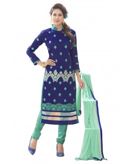 Chanderi Silk Blue Churidar Suit - MARIYAM1001