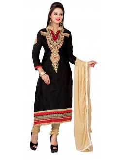Designer Black & Beige Straight Unstitched Churidar Suit-MN21003(ST-MONA2)