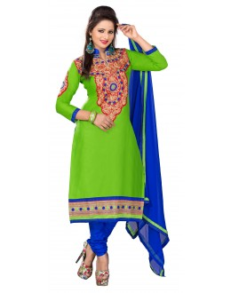 Designer Green & Blue Straight Unstitched Churidar Suit-MN21007(ST-MONA2)