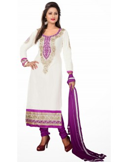 Designer White & Purple Straight Unstitched Churidar Suit-MN21006(ST-MONA2)