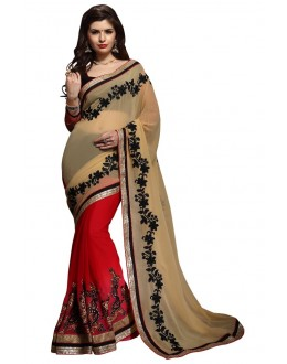 Diwali Special Beige & Red Embroidered Georgette Fancy Saree-10003(ST-PANIHARI)