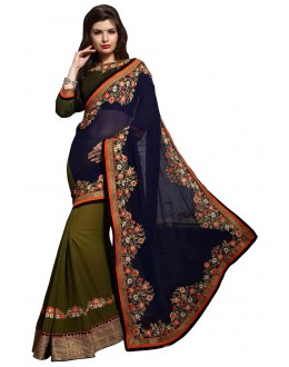 Diwali Special Blue & Green Embroidered Georgette Fancy Saree-10007(ST-PANIHARI)