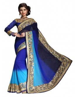 Diwali Special Blue Embroidered Georgette Fancy Saree-10001(ST-PANIHARI)