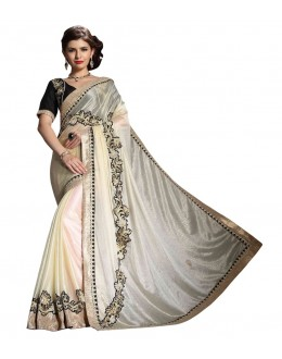 Diwali Special Grey & White Embroidered Georgette Fancy Saree-10011(ST-PANIHARI)